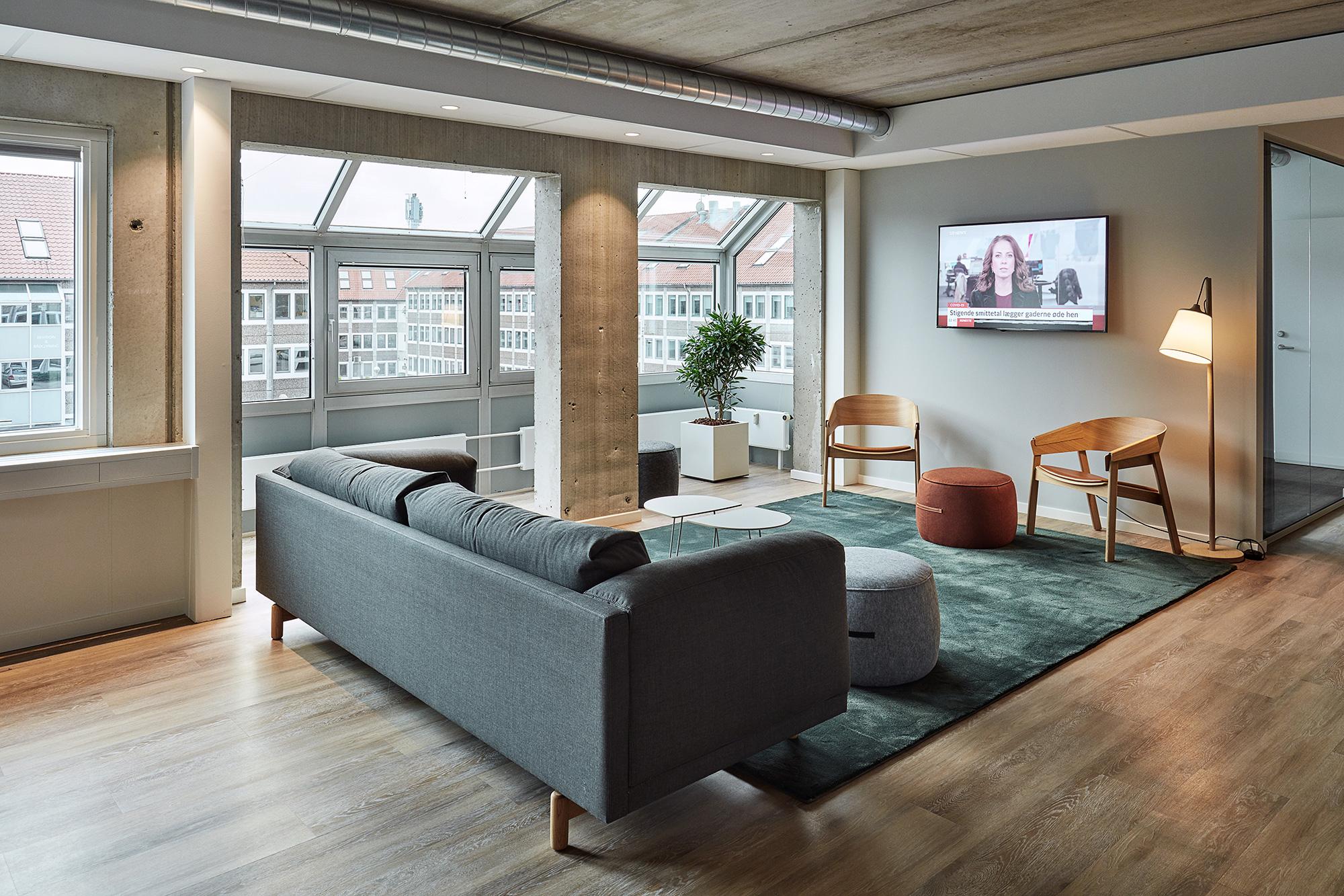 Loungeområde hos kontorhotellet